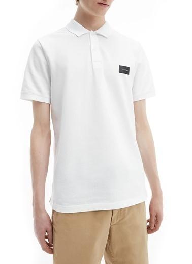 Calvin Klein  Pamuklu Slim Fit Polo T Shirt Erkek Polo K10K107289 Ybs Beyaz